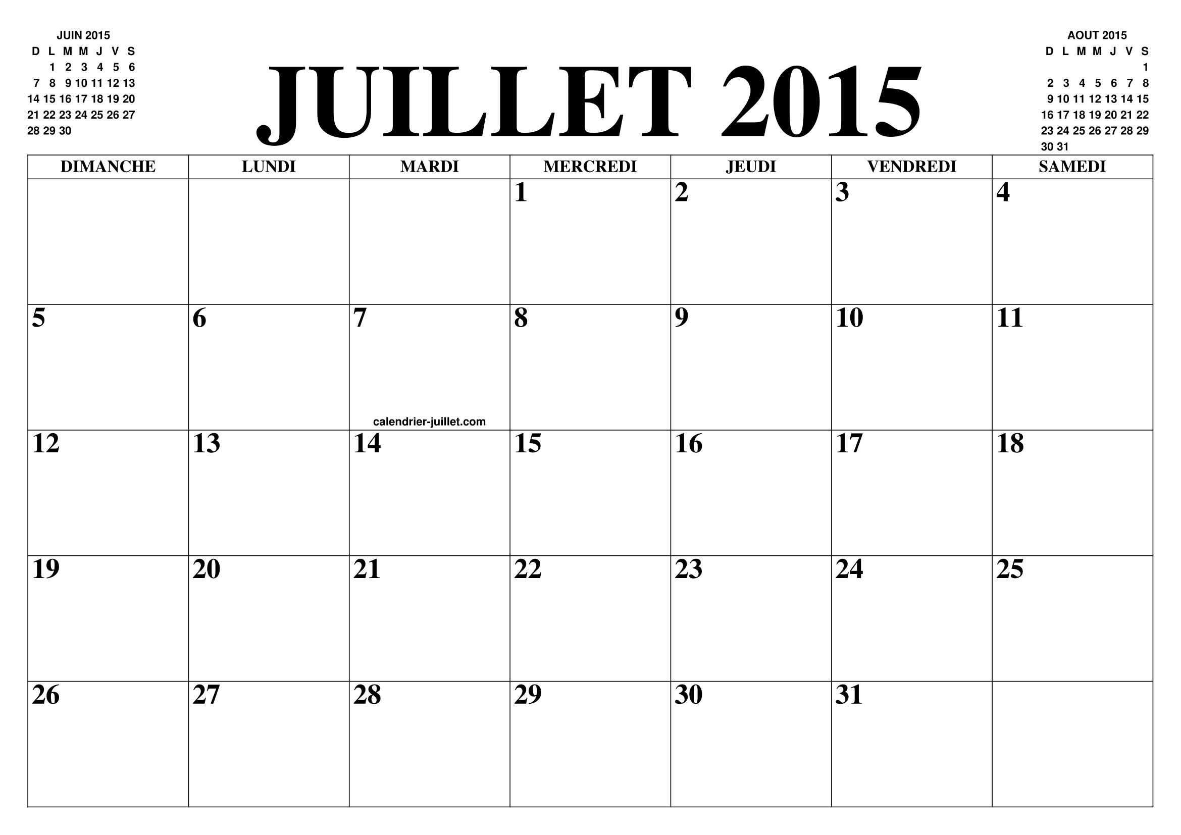 Calendrier Juillet 2015 Le Calendrier Du Mois De Juillet Gratuit A Imprimer Agenda
