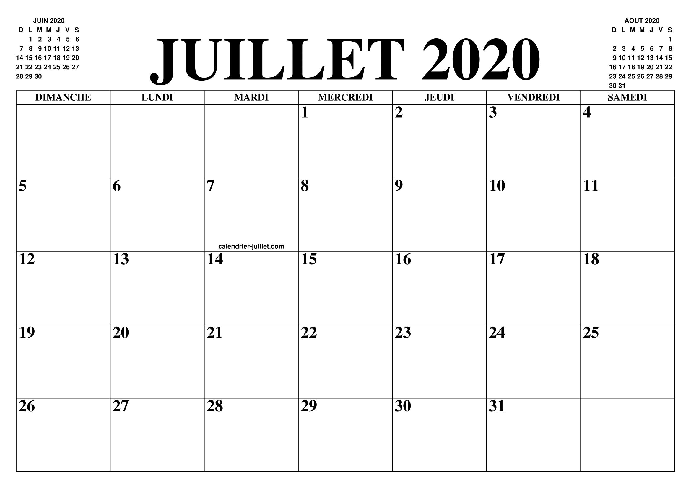 Calendrier Juillet 2020 A Imprimer Gratuit.Calendrier Juillet 2020 Le Calendrier Du Mois De Juillet