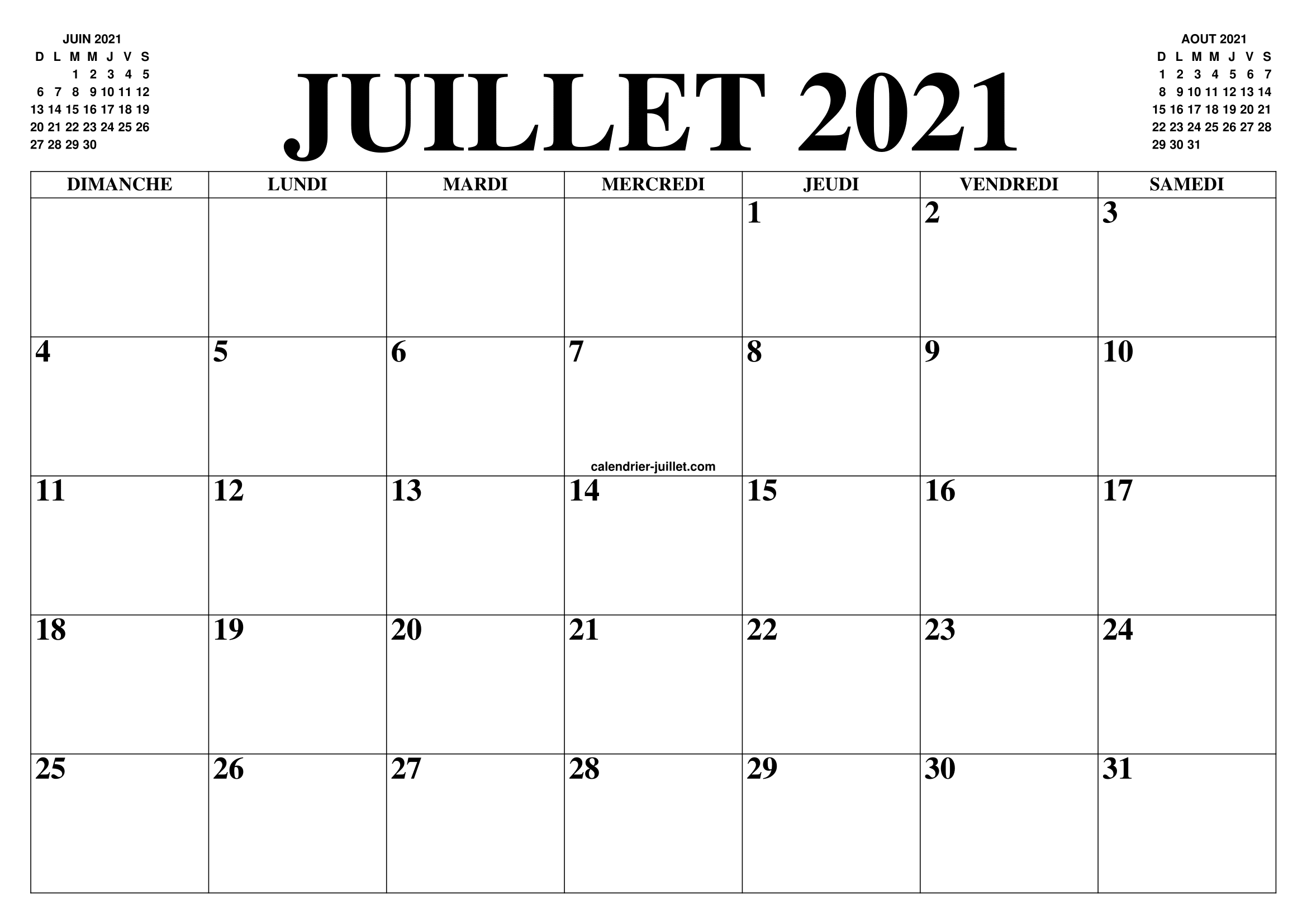 Calendrier Mois Juillet 2021 CALENDRIER JUILLET 2021 : LE CALENDRIER DU MOIS DE JUILLET GRATUIT