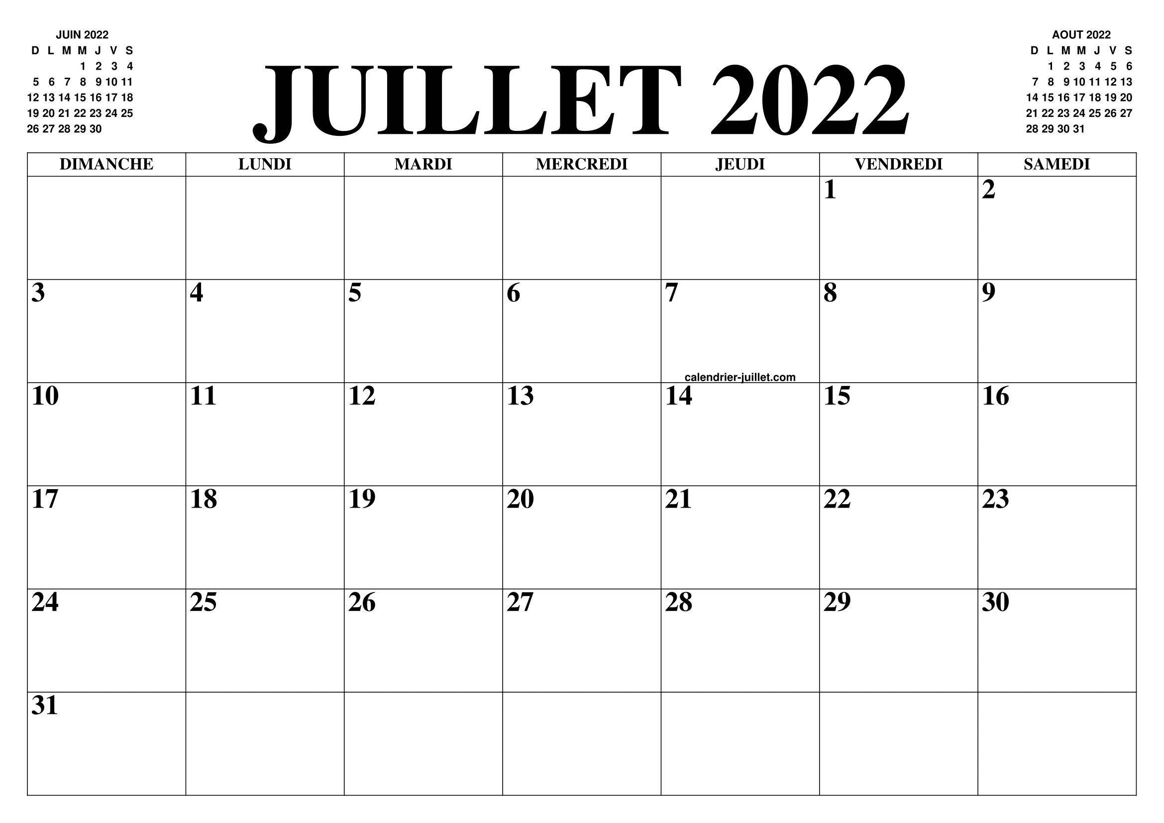 CALENDRIER JUILLET 2022 : LE CALENDRIER DU MOIS DE JUILLET GRATUIT